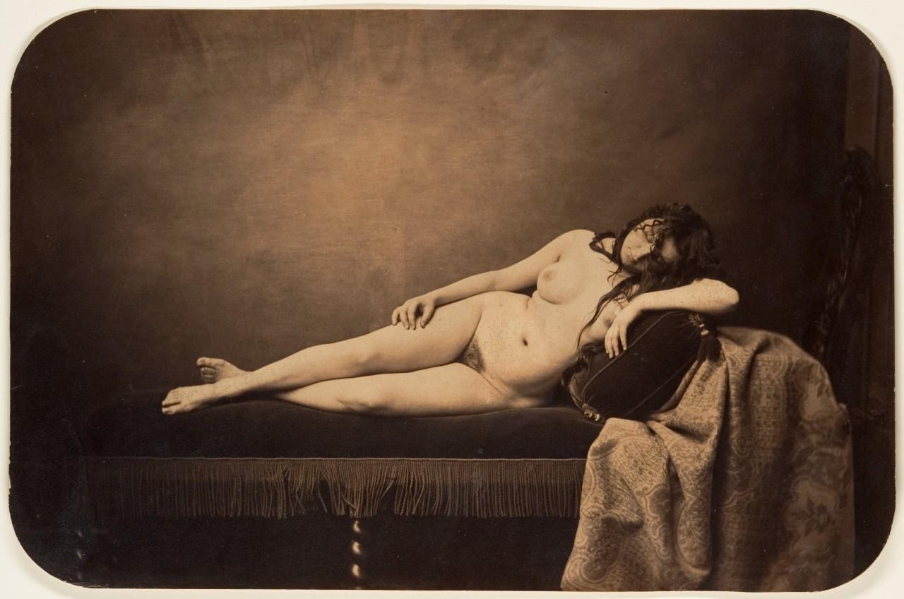 Обнажённая женщина на тахте, 1856. Автор Гюстав Ле Грей
