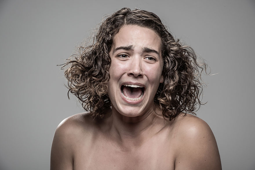 How people react to electric shock.  The original photo project of Patrick Hall-22
