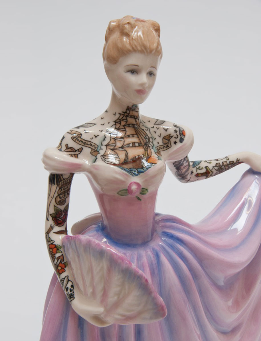 Artist Covers Her Graceful Porcelain Figures With Sailor Tattoos