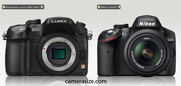 panasonic-gh3 nikon-d3200-size-comparison