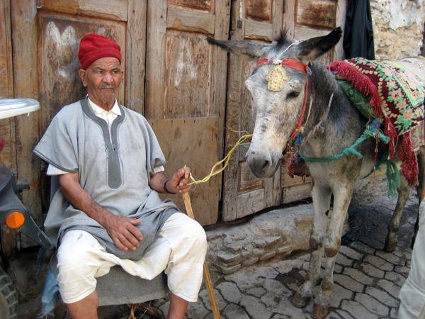 Man-and-donkey-Fes-medina-Morocco