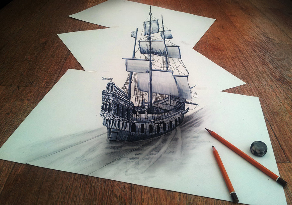 4mind-blowing-3D-drawing-on-flat-sheet-of-paper