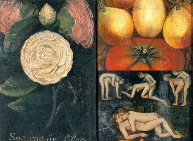 Картина с сюрпризом. Натюрморт из роз и фруктов со скрытыми эротическими сценами