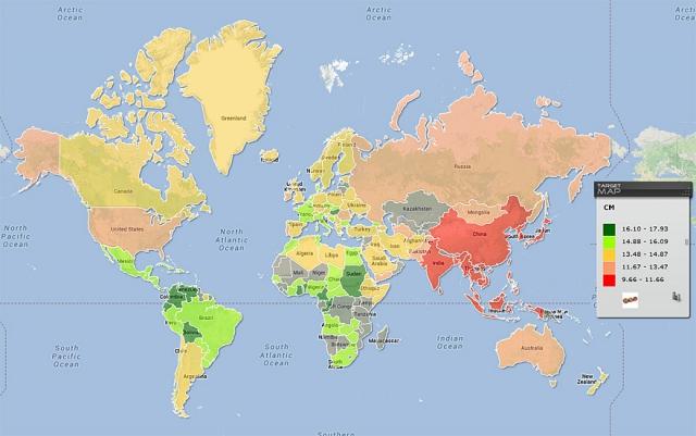 Размер пенисов в мире