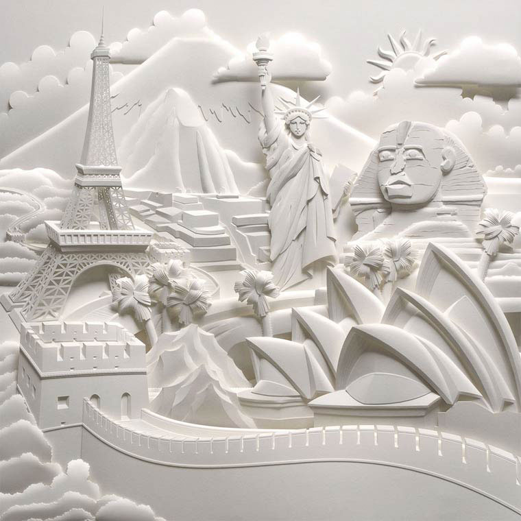 paper sculptures Details this may be considered a broad category that contains origami and card modeling origami is the process of making a paper model by folding a single paper without using glue or cutting while the variation kirigami does.