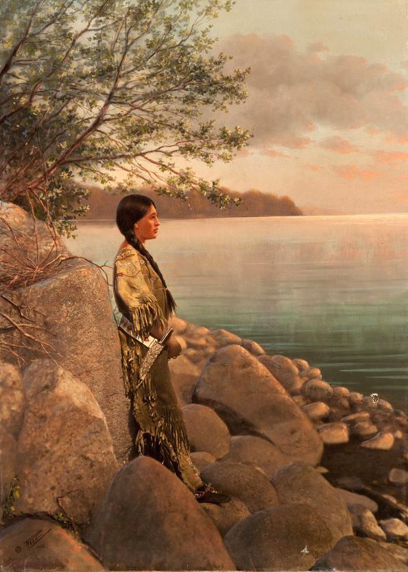 Ручная роспись. Молодая женщина на берегу реки, начало 1900-х, фотограф Роланд В. Рид