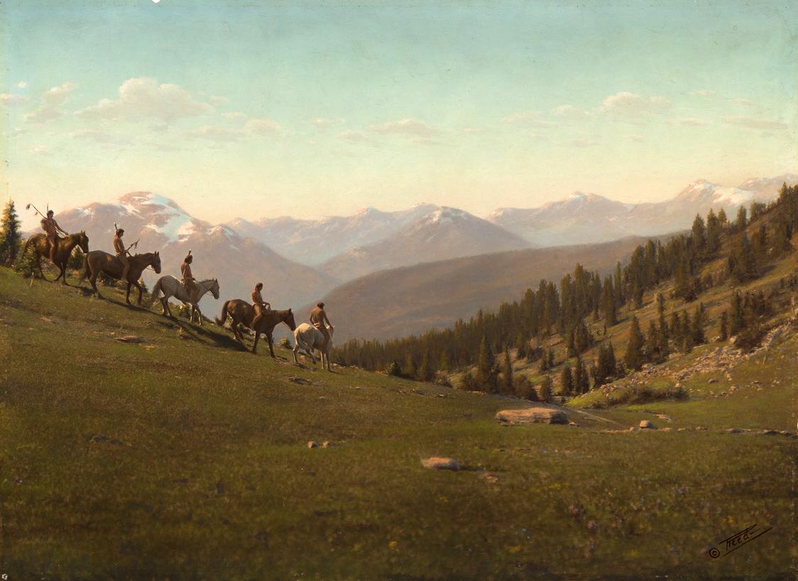 Пятеро всадников в Монтане. Начало 1900-х, фотограф Роланд В. Рид