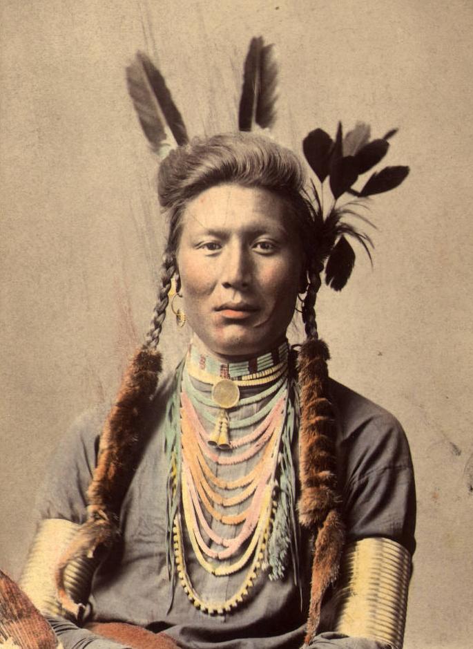 Старый Койот (или Жёлтый пёс). Племя Воронов, 1879 (фотография раскрашена примерно в 1910)