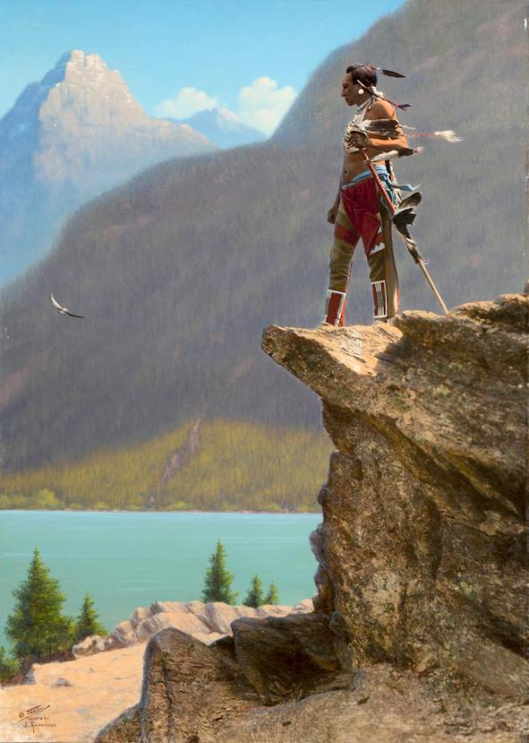 Индеец Северных равнин. Монтана. Начало 1900-х, ручная раскраска, фотограф Роланд В. Рид