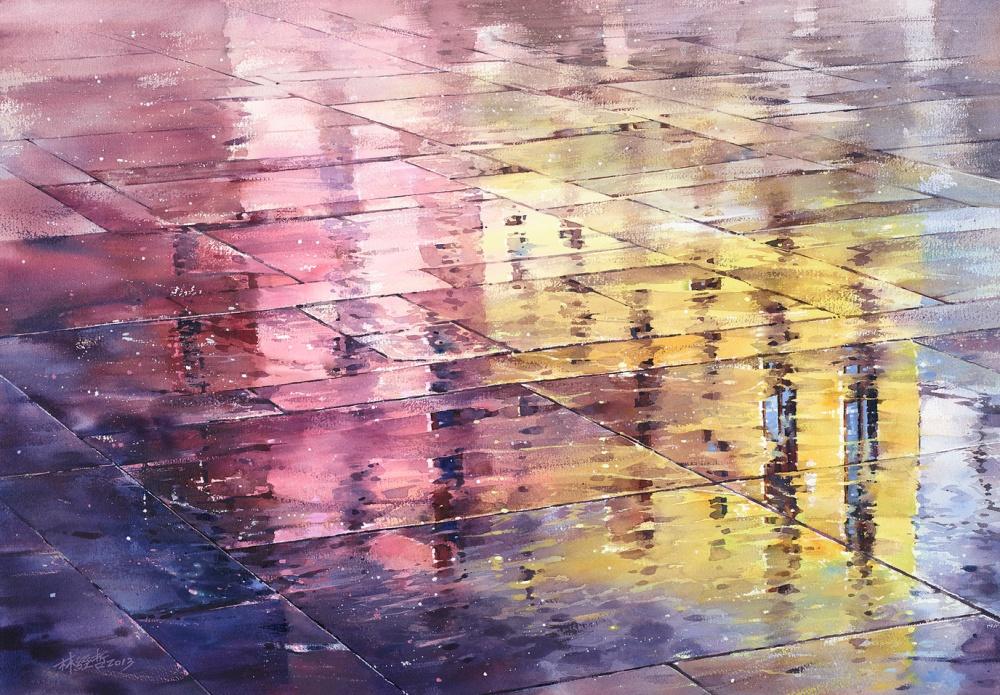 Дождь в большом городе. Акварельные картины Лина Чинг Че 1