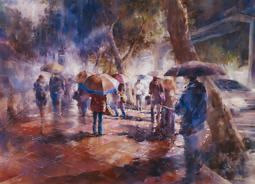 Дождь в большом городе. Акварельные картины Лина Чинг Че 10