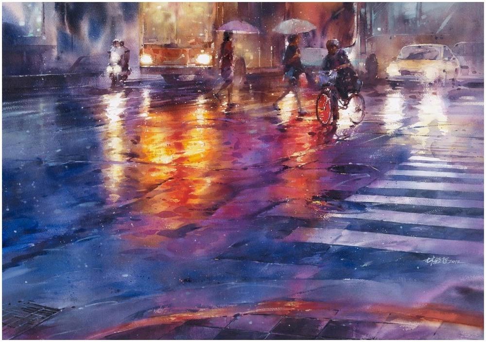 Дождь в большом городе. Акварельные картины Лина Чинг Че 11