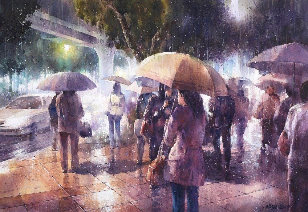 Дождь в большом городе. Акварельные картины Лина Чинг Че 12
