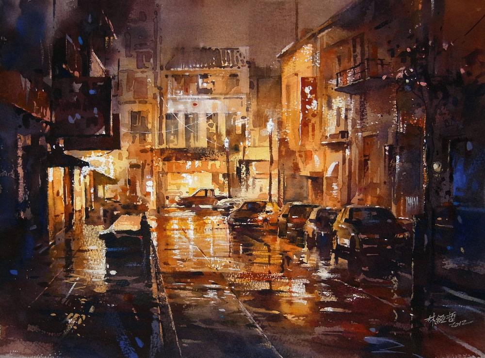 Дождь в большом городе. Акварельные картины Лина Чинг Че 13