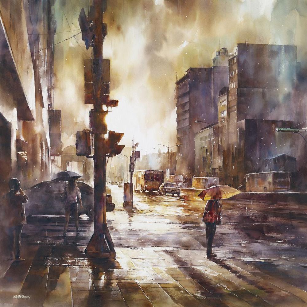 Дождь в большом городе. Акварельные картины Лина Чинг Че 14