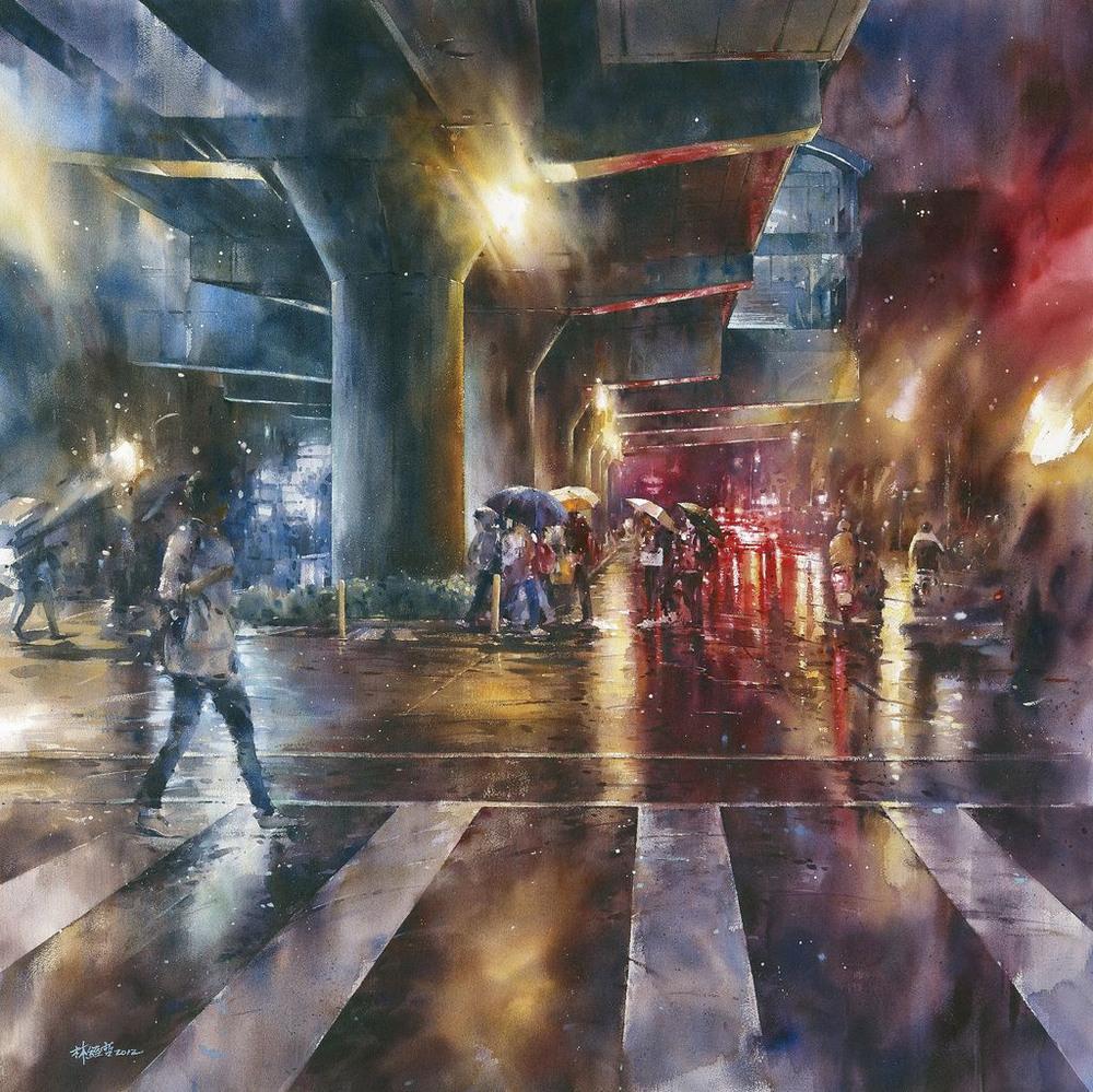 Дождь в большом городе. Акварельные картины Лина Чинг Че 16