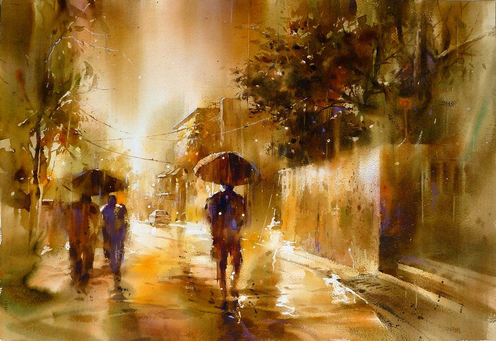 Дождь в большом городе. Акварельные картины Лина Чинг Че 17