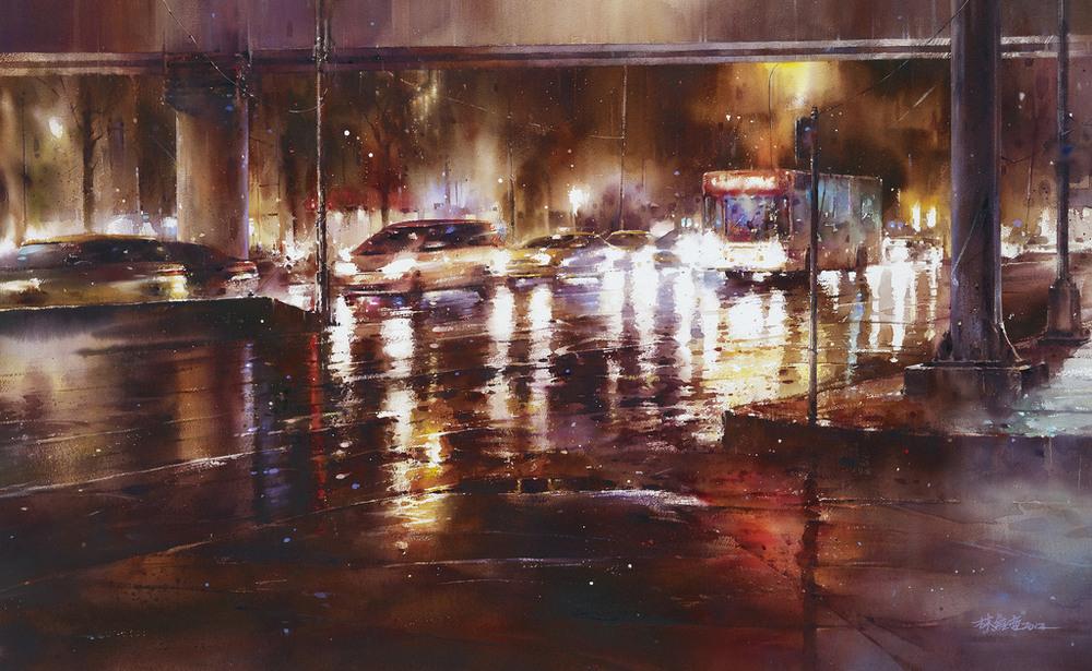 Дождь в большом городе. Акварельные картины Лина Чинг Че 18