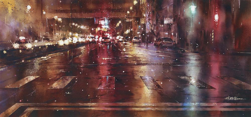 Дождь в большом городе. Акварельные картины Лина Чинг Че 19