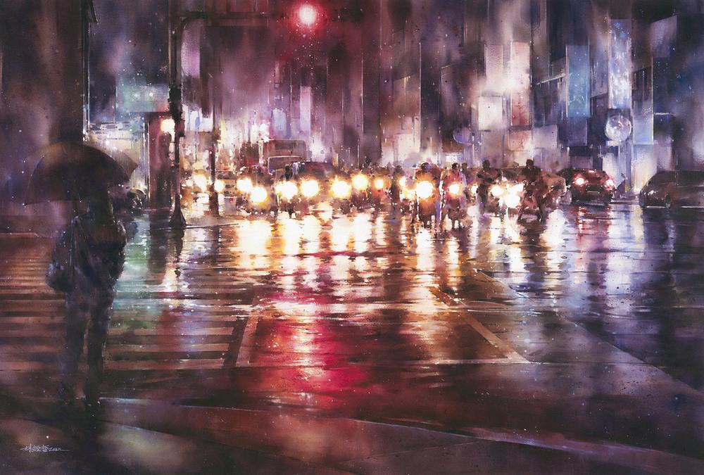 Дождь в большом городе. Акварельные картины Лина Чинг Че 21