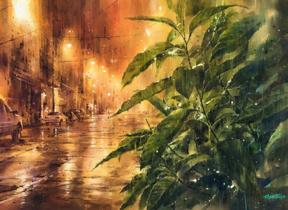 Дождь в большом городе. Акварельные картины Лина Чинг Че 22