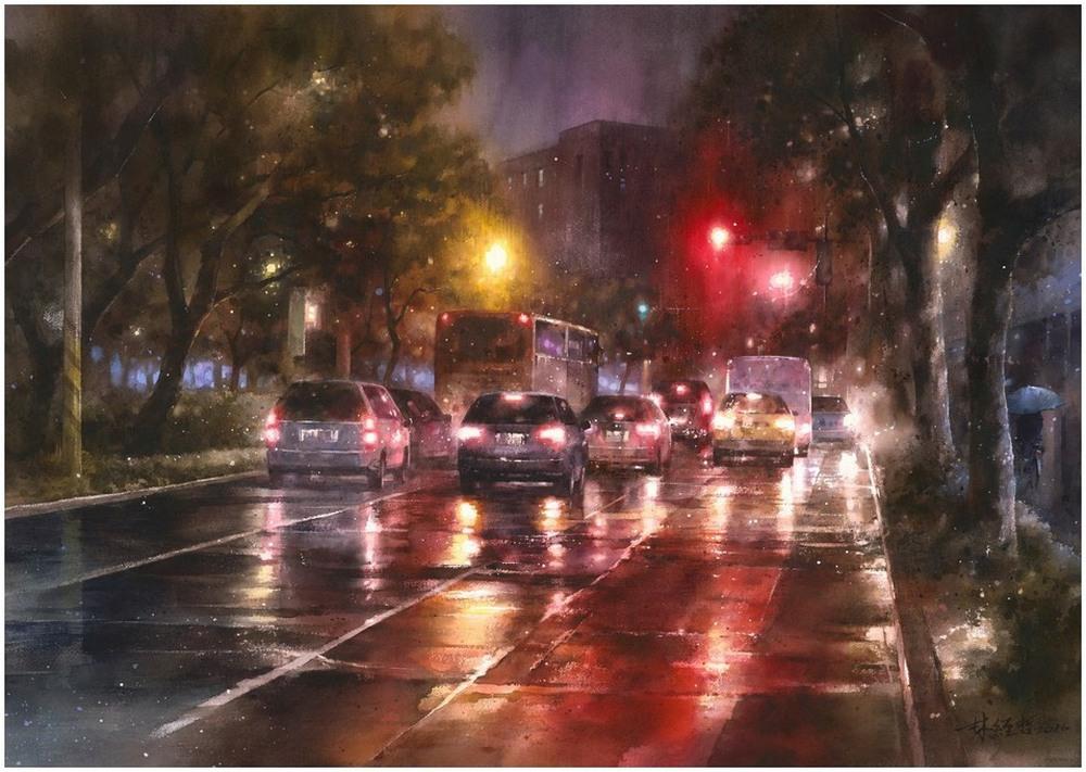 Дождь в большом городе. Акварельные картины Лина Чинг Че 24