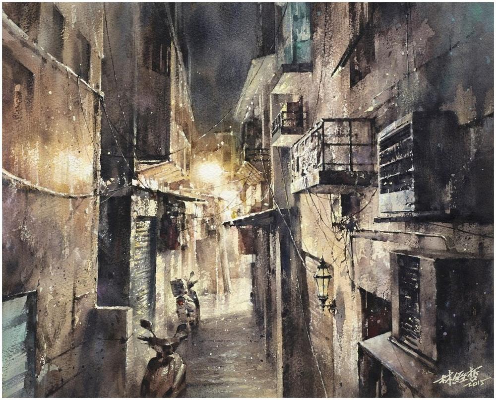 Дождь в большом городе. Акварельные картины Лина Чинг Че 25