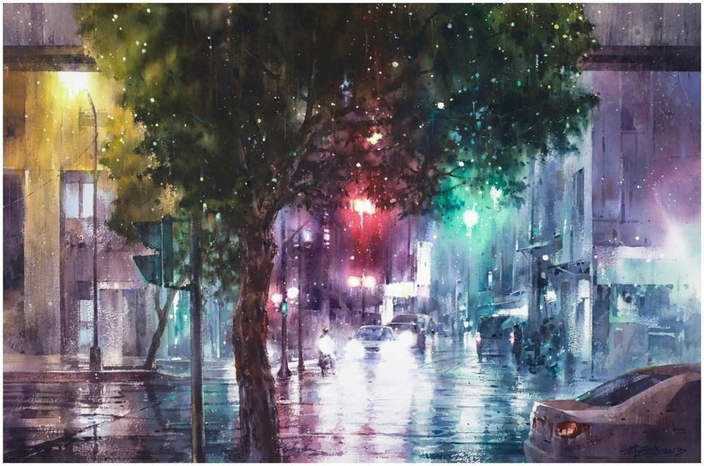 Дождь в большом городе. Акварельные картины Лина Чинг Че 26