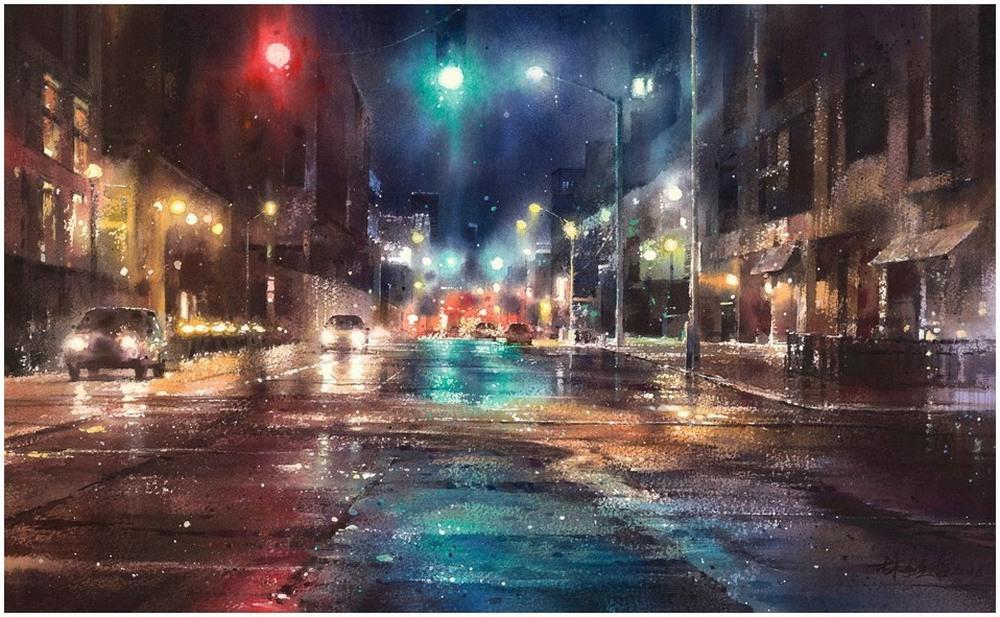 Дождь в большом городе. Акварельные картины Лина Чинг Че 27