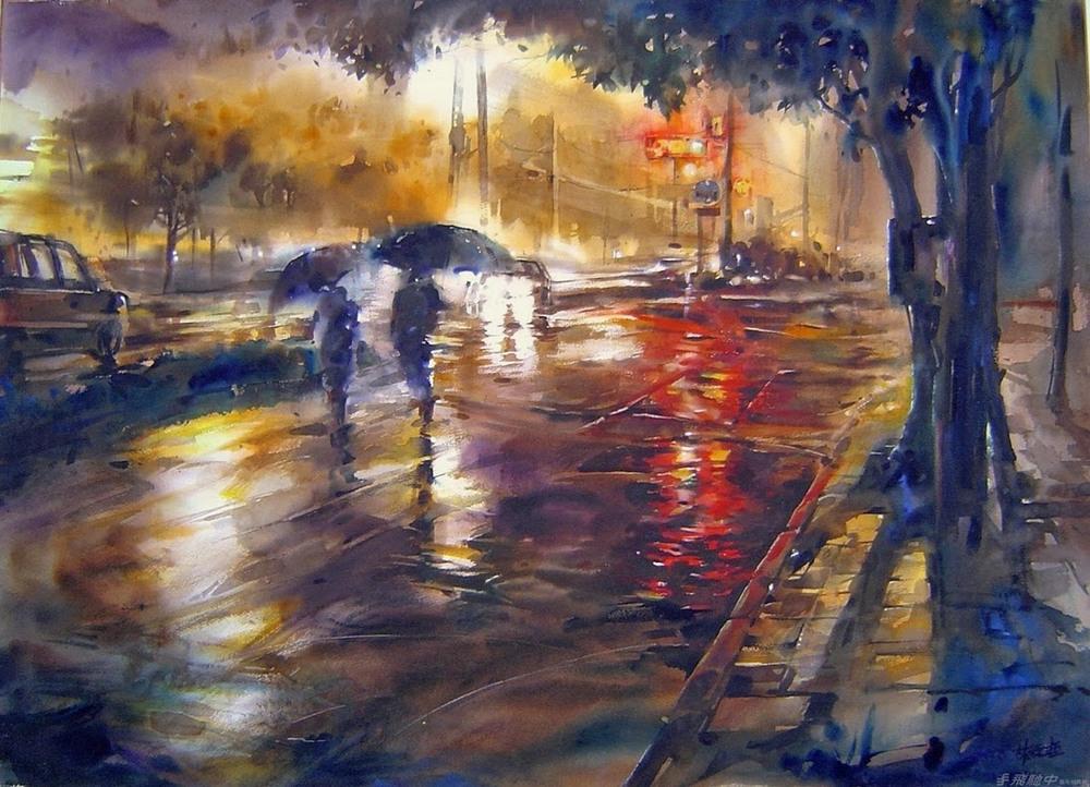 Дождь в большом городе. Акварельные картины Лина Чинг Че 29