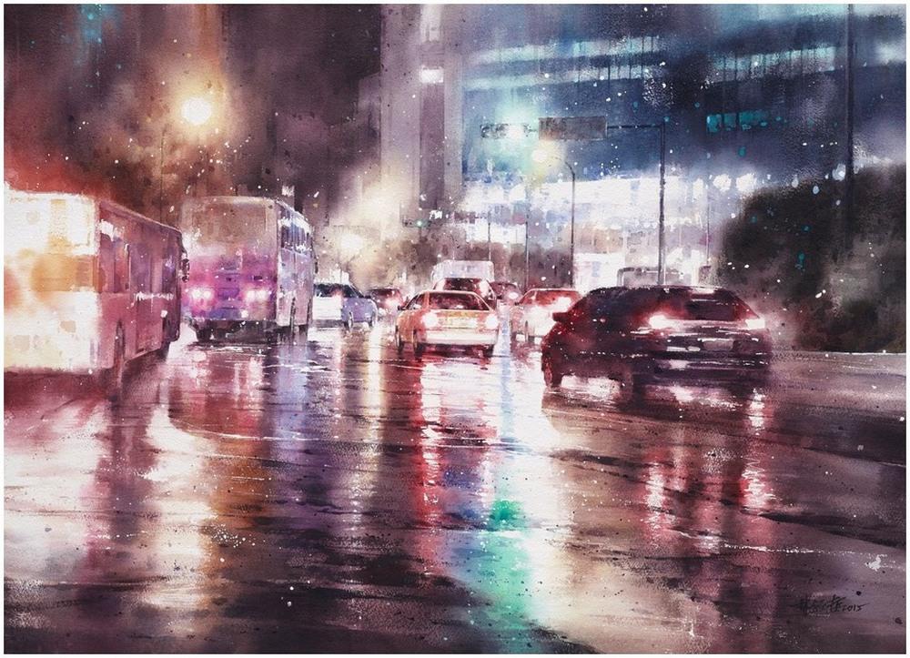 Дождь в большом городе. Акварельные картины Лина Чинг Че 3