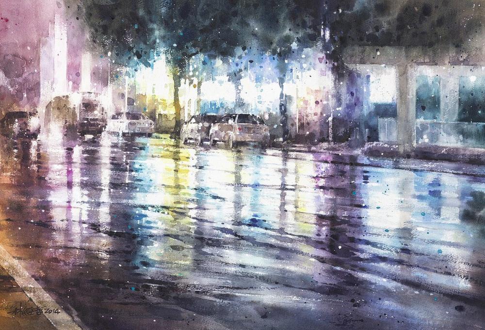 Дождь в большом городе. Акварельные картины Лина Чинг Че 30