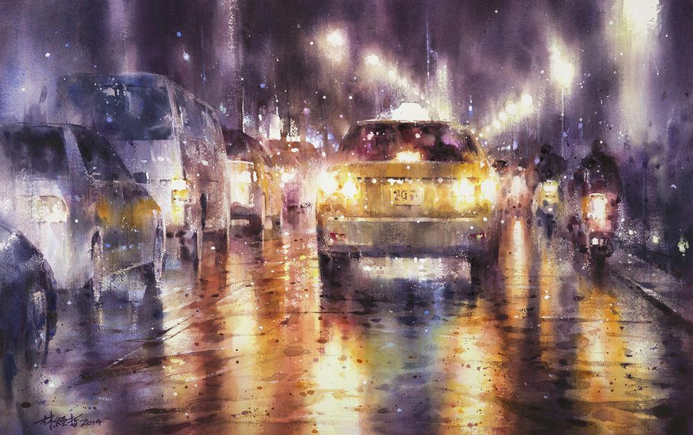 Дождь в большом городе. Акварельные картины Лина Чинг Че 31