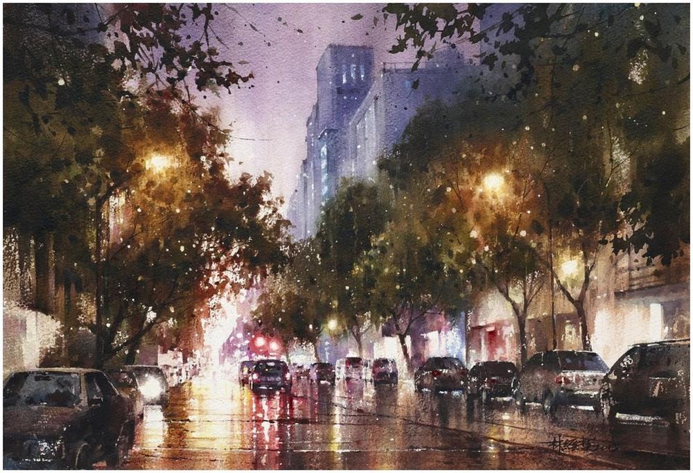 Дождь в большом городе. Акварельные картины Лина Чинг Че 5