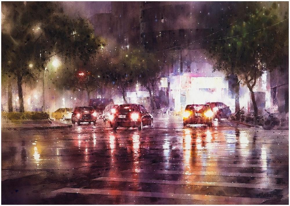 Дождь в большом городе. Акварельные картины Лина Чинг Че 6