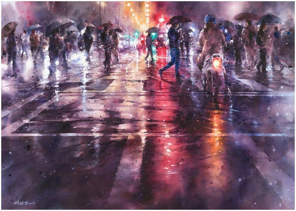 Дождь в большом городе. Акварельные картины Лина Чинг Че 7