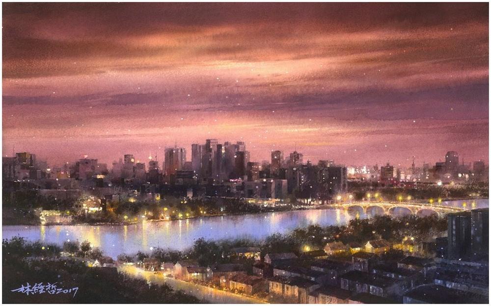 Дождь в большом городе. Акварельные картины Лина Чинг Че 8