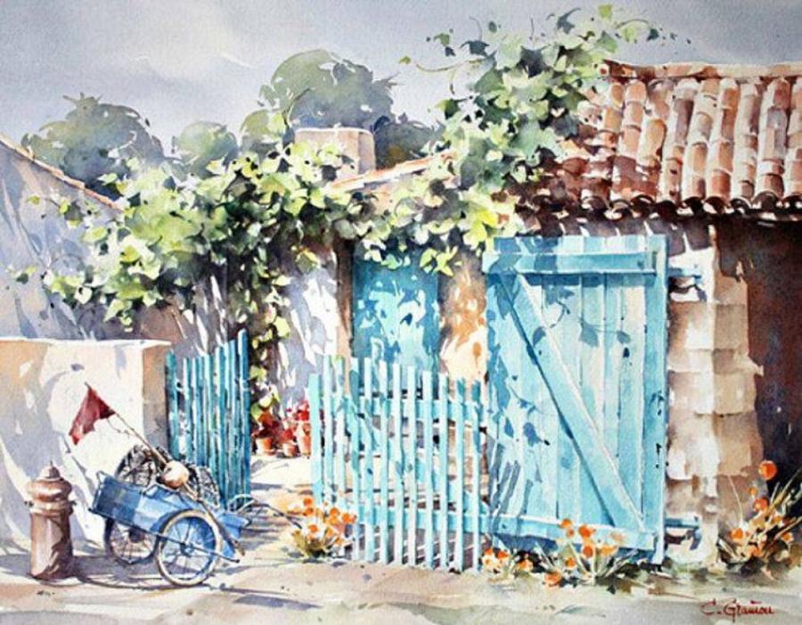Солнечные акварельные картины. Художник Кристиан Гранью 15