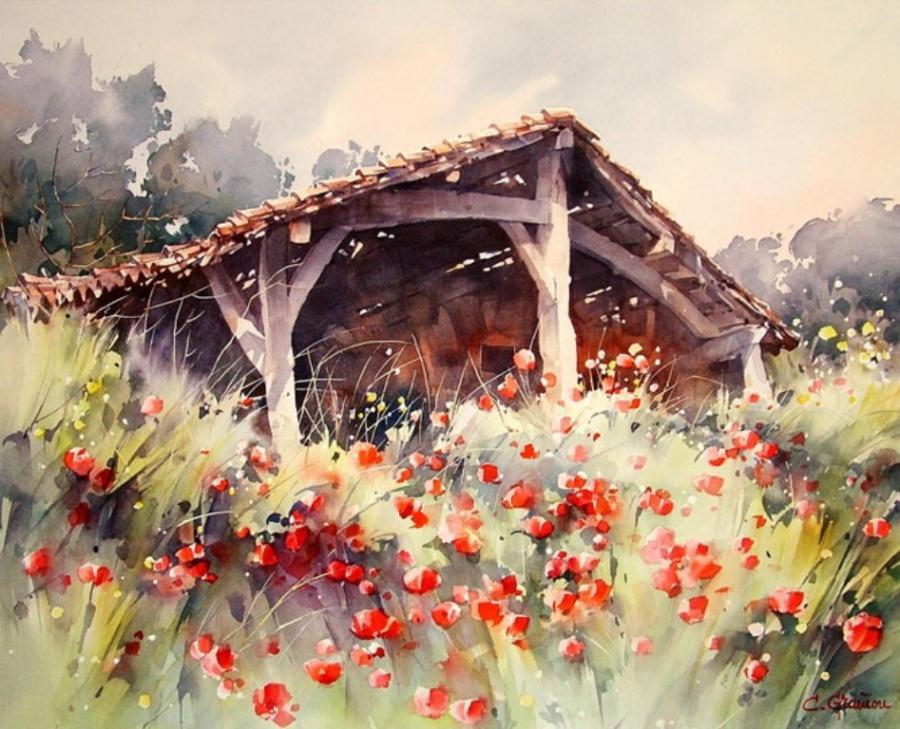 Солнечные акварельные картины. Художник Кристиан Гранью 17