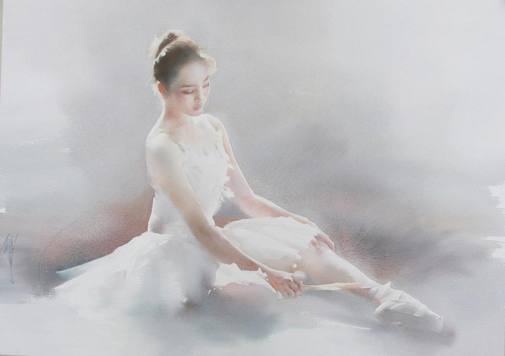 Нежные акварельные картины Лю Йи  50
