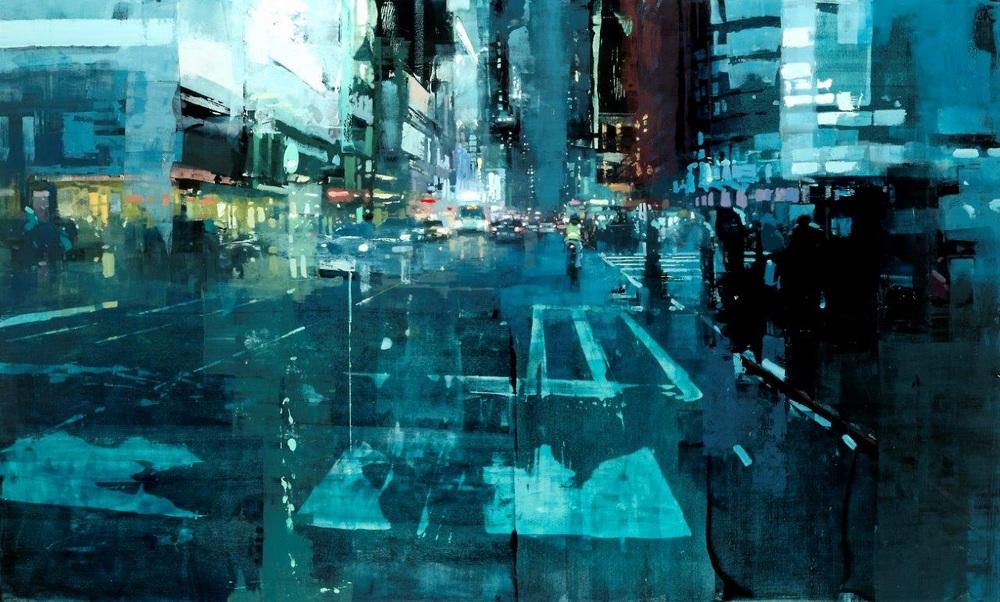 Неспящий город в масляной живописи Джереми Манна 01