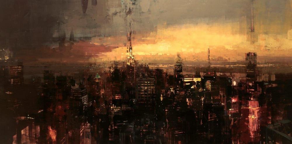 Неспящий город в масляной живописи Джереми Манна 1 3