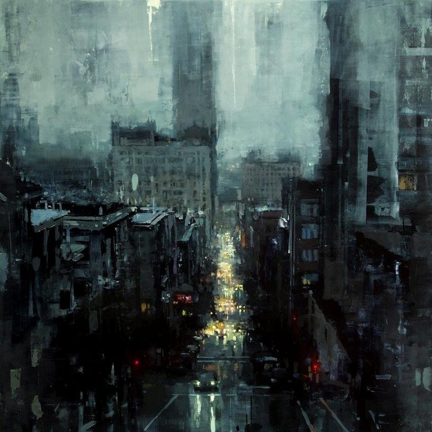 Неспящий город в масляной живописи Джереми Манна 1 8