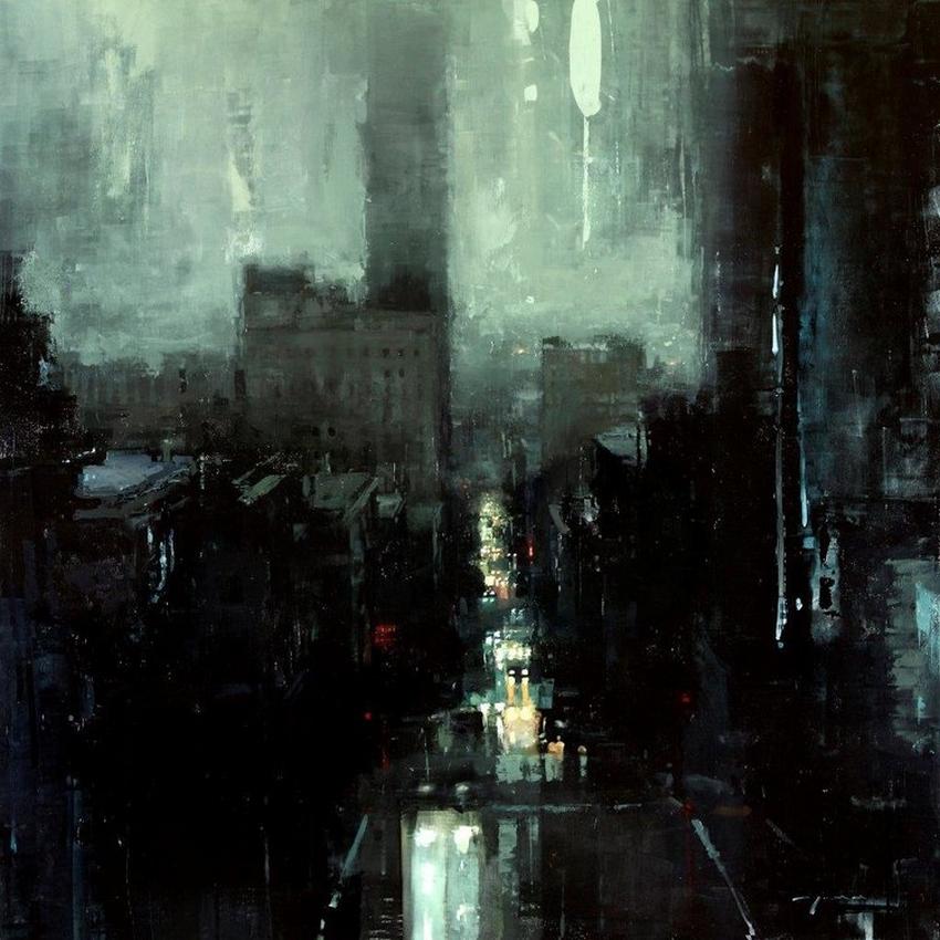 Неспящий город в масляной живописи Джереми Манна 12