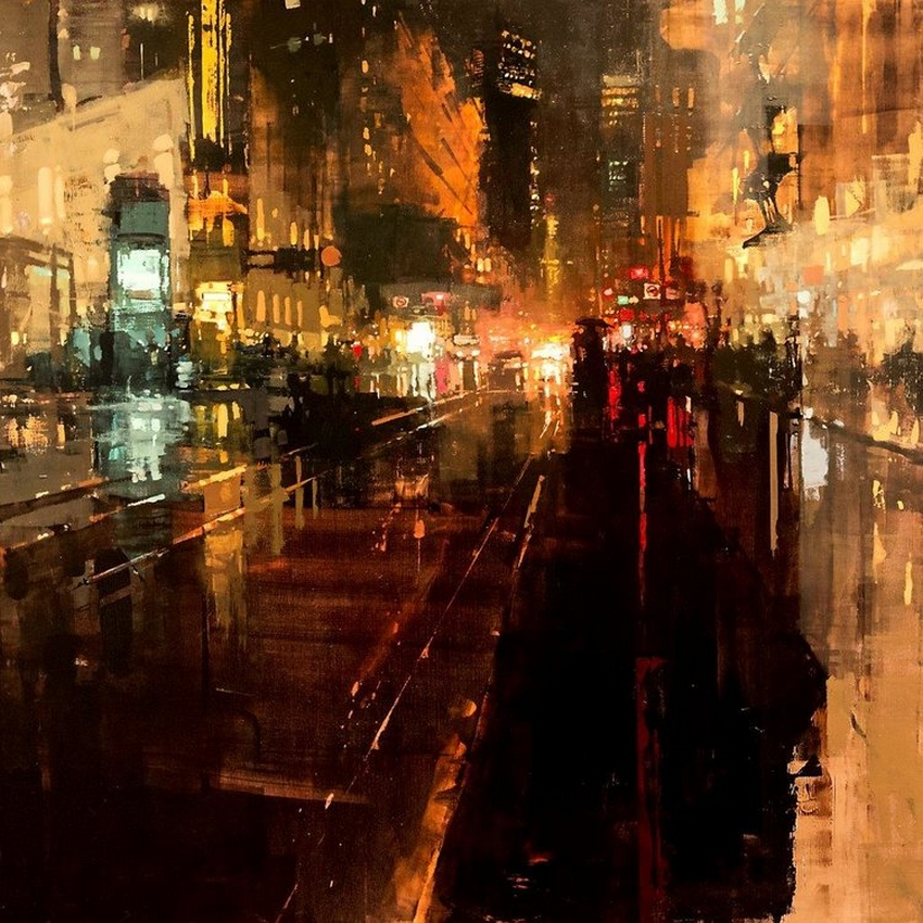 Неспящий город в масляной живописи Джереми Манна 14
