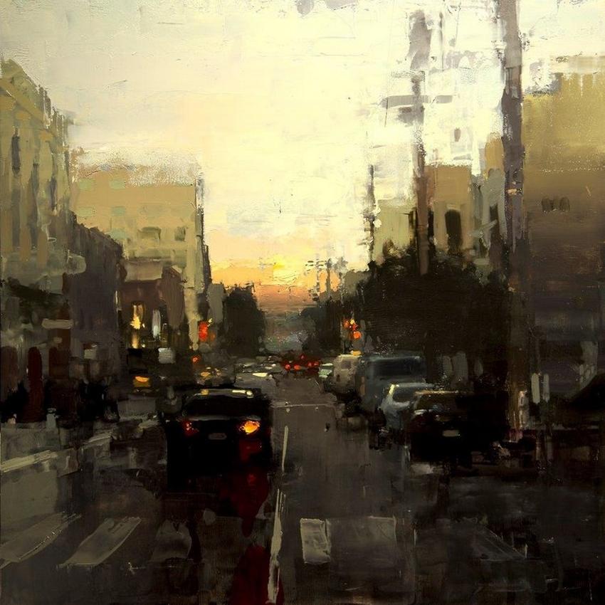 Неспящий город в масляной живописи Джереми Манна 15