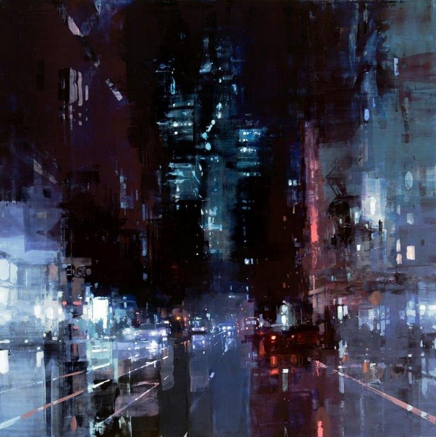 Неспящий город в масляной живописи Джереми Манна 16