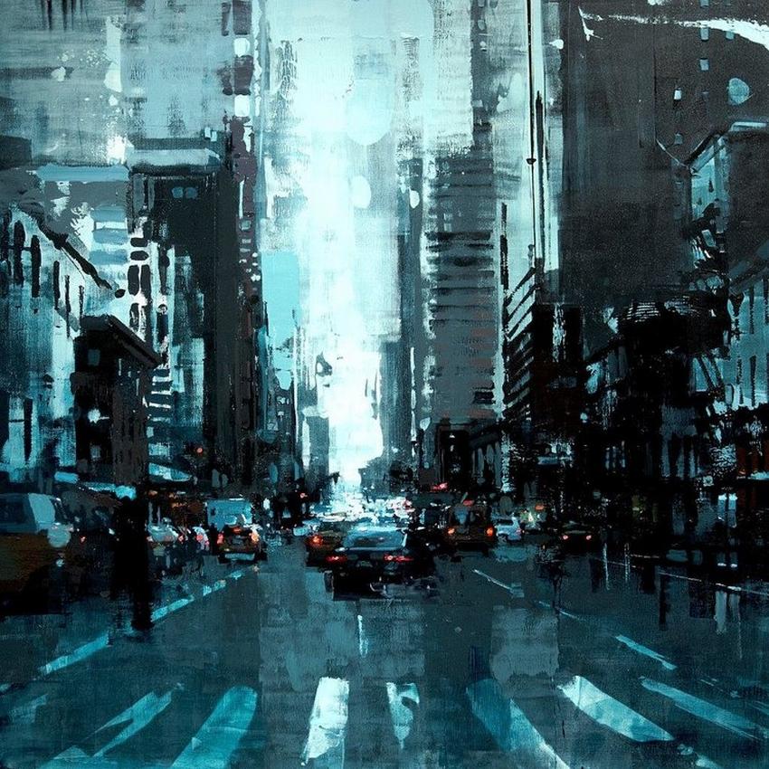 Неспящий город в масляной живописи Джереми Манна 18
