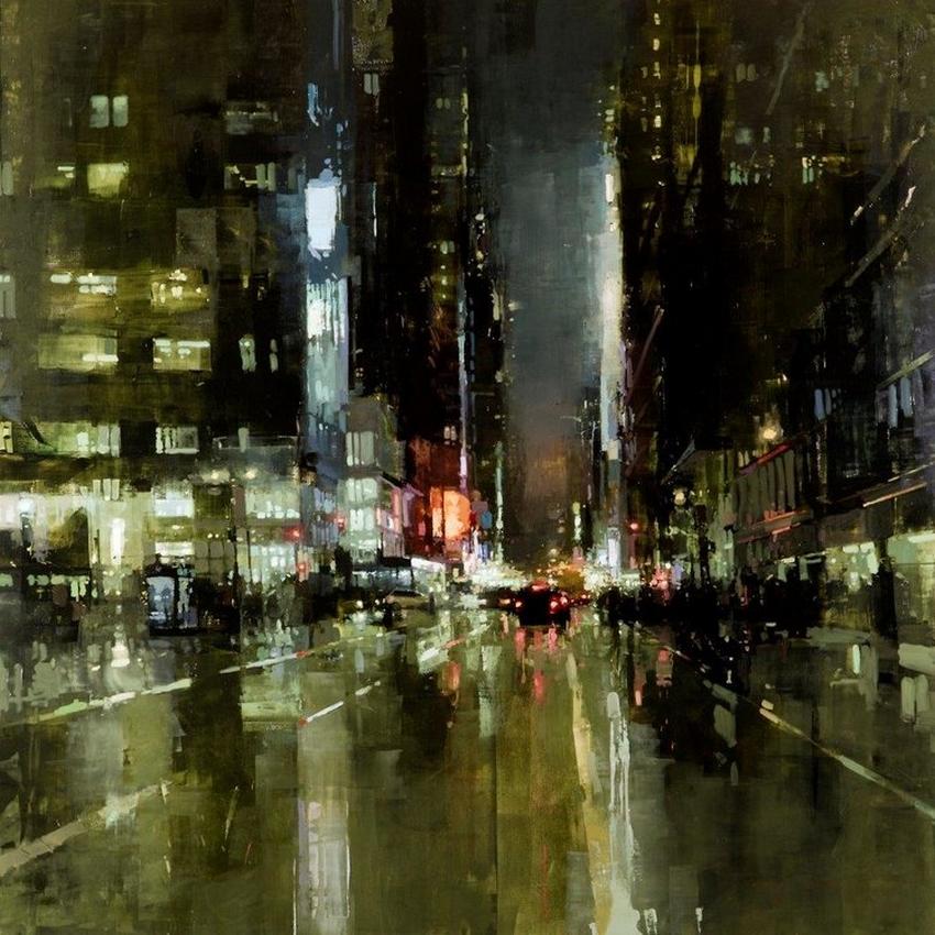 Неспящий город в масляной живописи Джереми Манна 19