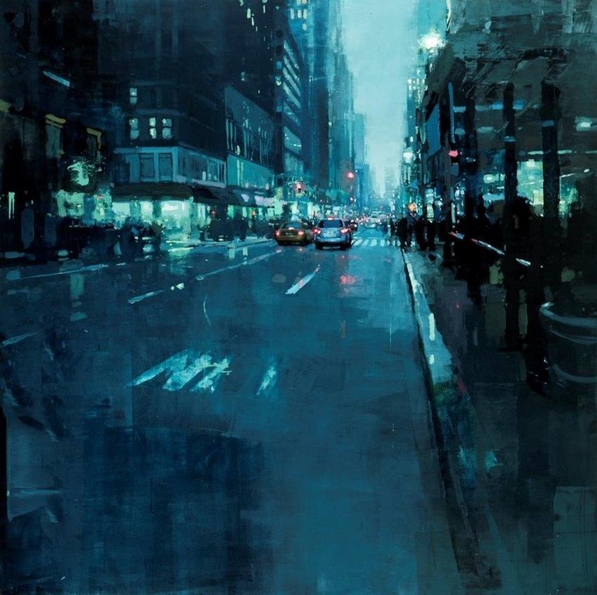 Неспящий город в масляной живописи Джереми Манна 20